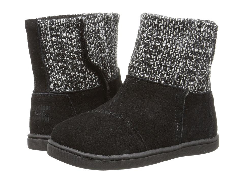 TOMS Kids - Nepal Boot (Infant/Toddler/Little Kid) (Black Suede/Metallic Wool) Kids Shoes