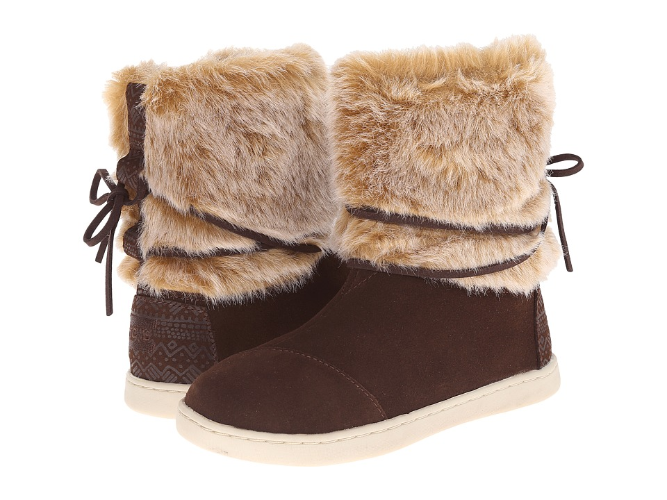 TOMS Kids - Nepal Boot (Little Kid/Big Kid) (Chestnut Suede/Faux Fur) Kids Shoes