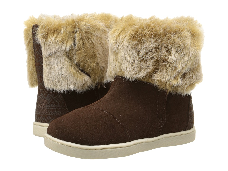 TOMS Kids - Nepal Boot (Infant/Toddler/Little Kid) (Chestnut Suede/Faux Fur) Kids Shoes