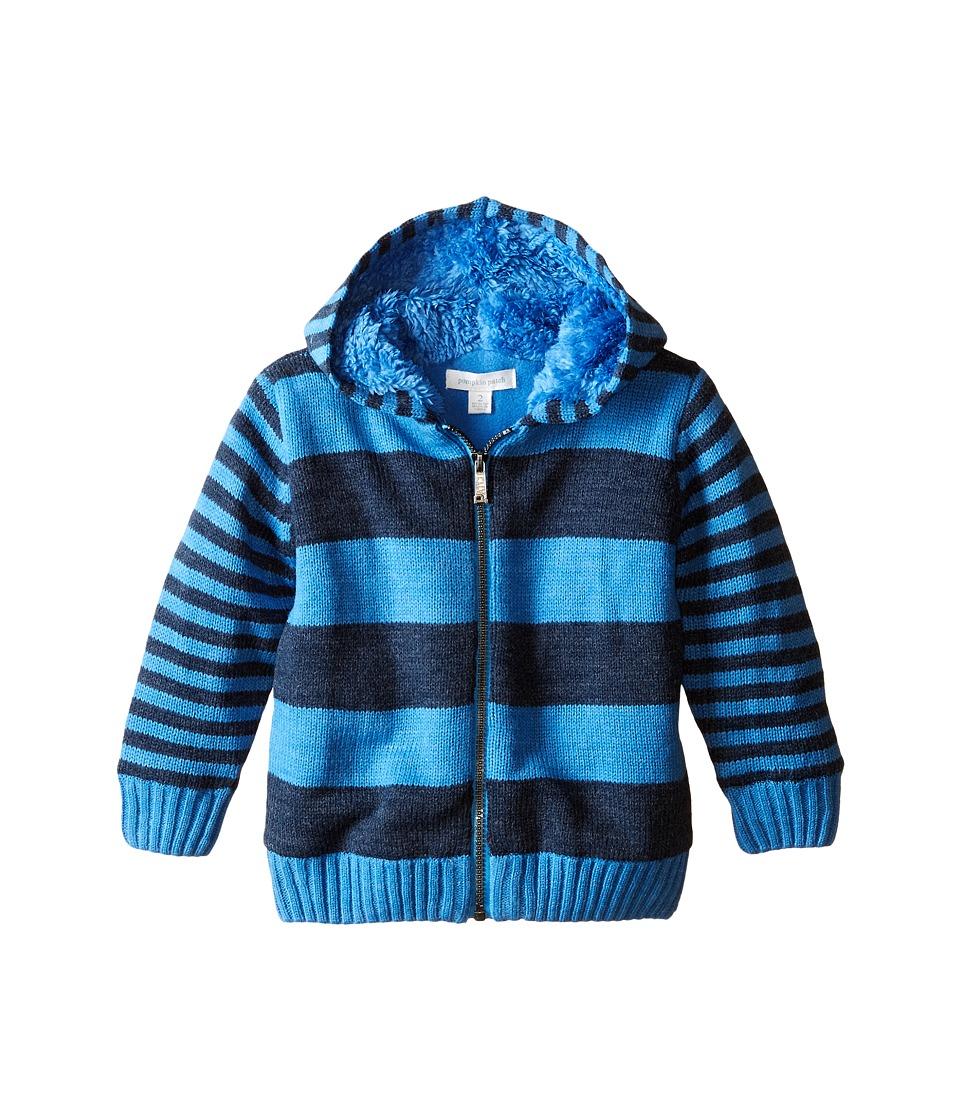 Pumpkin Patch Kids - Wheel Life Fleece Lined Stripe Hooded Jumper (Infant/Toddler/Little Kids) (Stratosphere) Boy's Sweatshirt
