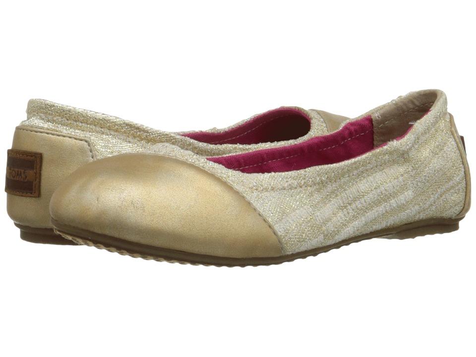 TOMS Kids - Ballet Flat (Little Kid/Big Kid) (Gold Metallic) Girls Shoes