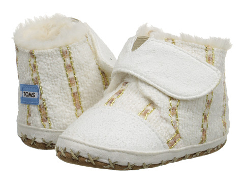TOMS Kids - Cuna (Infant/Toddler) (White Metallic Twill Suede) Kids Shoes