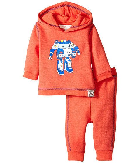 Pumpkin Patch Kids - Wheel Life Hooded Set (Infant) (Hot Rod Red Marle) Boy's Pajama Sets