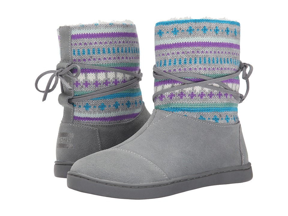 TOMS Kids - Nepal Boot (Little Kid/Big Kid) (Grey Suede Fair Isle) Kids Shoes