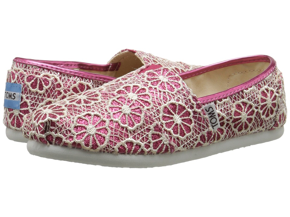 TOMS Kids - Seasonal Classics (Little Kid/Big Kid) (Pink Crochet Glitter) Kids Shoes