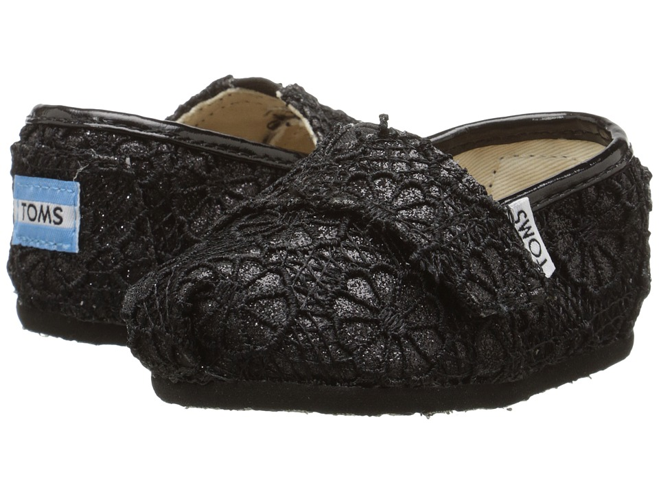 TOMS Kids - Seasonal Classics (Infant/Toddler/Little Kid) (Black Crochet Glitter) Kids Shoes
