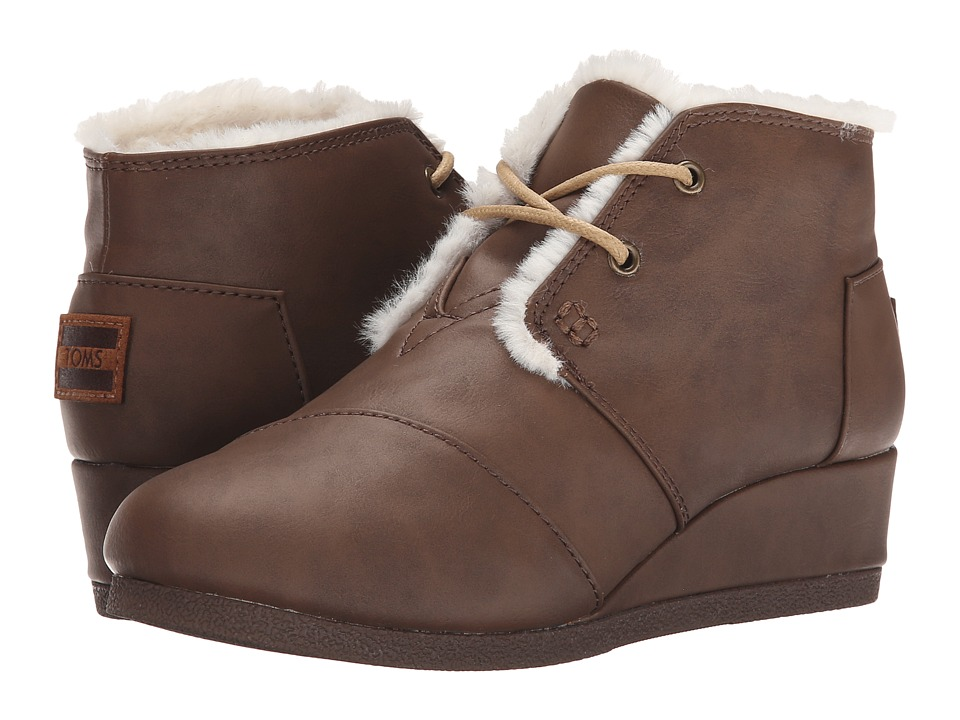 TOMS Kids - Desert Wedge Bootie (Little Kid/Big Kid) (Brown Synthetic Leather) Kids Shoes