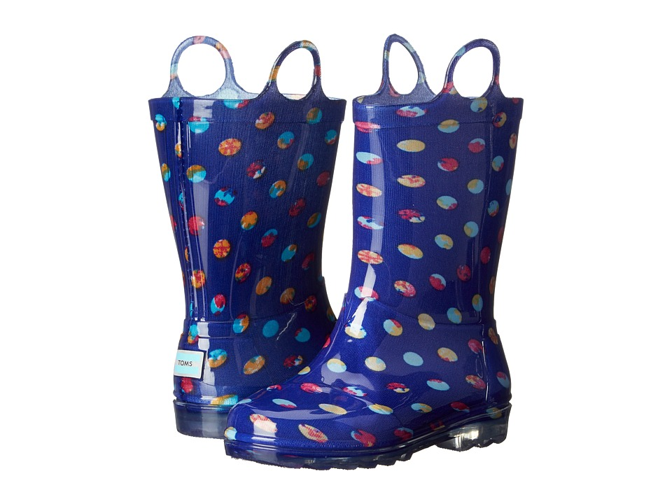 TOMS Kids - Rain Boot (Infant/Toddler/Little Kid) (Blue Dots PVC) Kids Shoes