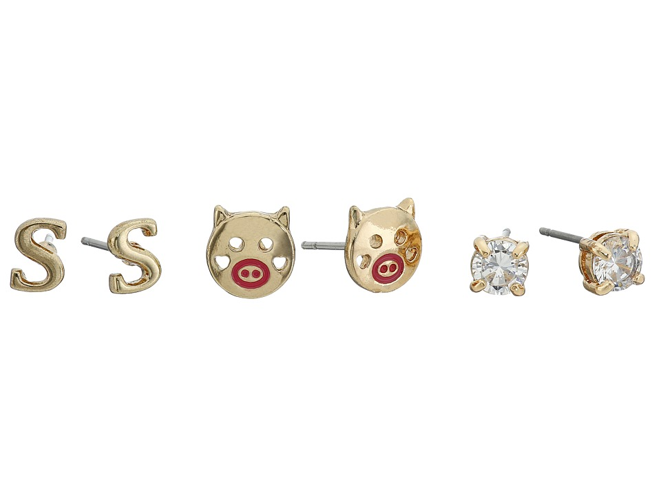 Betsey Johnson - CZ Initial Stud Earrings Set (Crystal - S) Earring