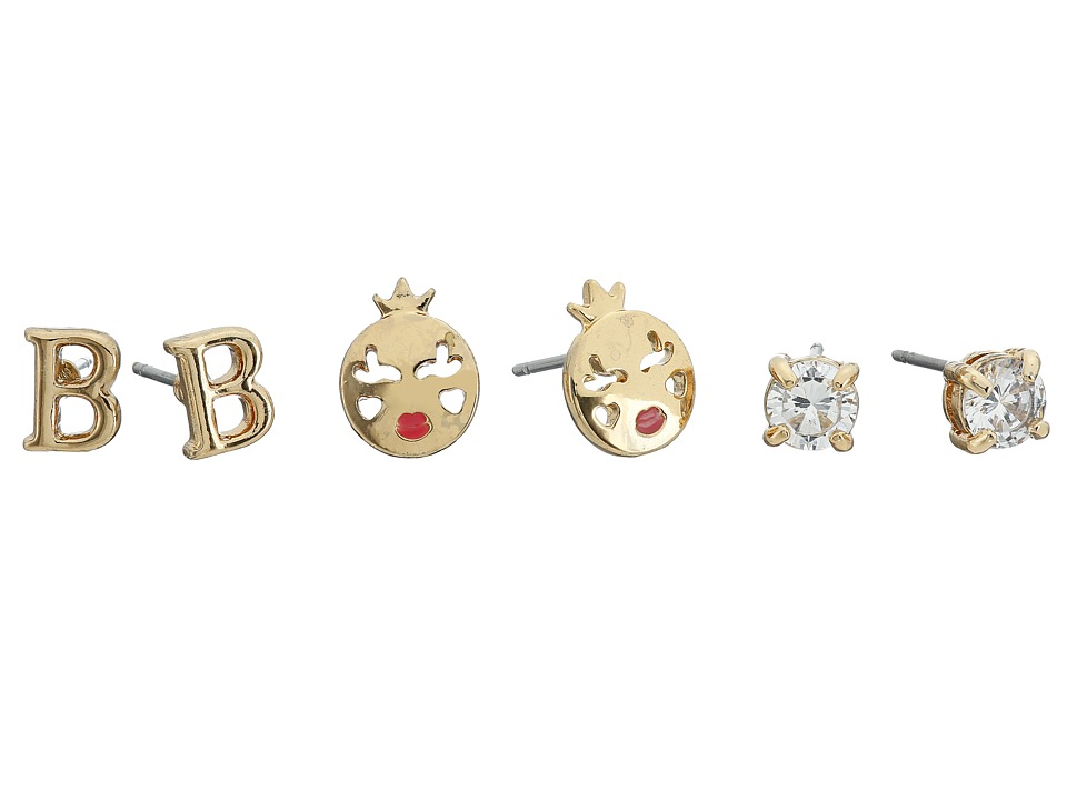 Betsey Johnson - CZ Initial Stud Earrings Set (Crystal - B) Earring