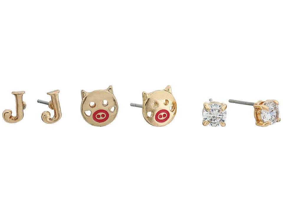 Betsey Johnson - CZ Initial Stud Earrings Set (Crystal - J) Earring