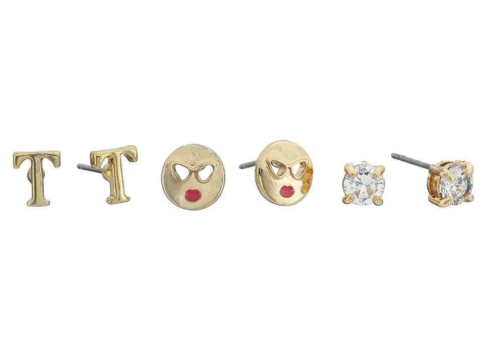 Betsey Johnson - CZ Initial Stud Earrings Set (Crystal - T) Earring