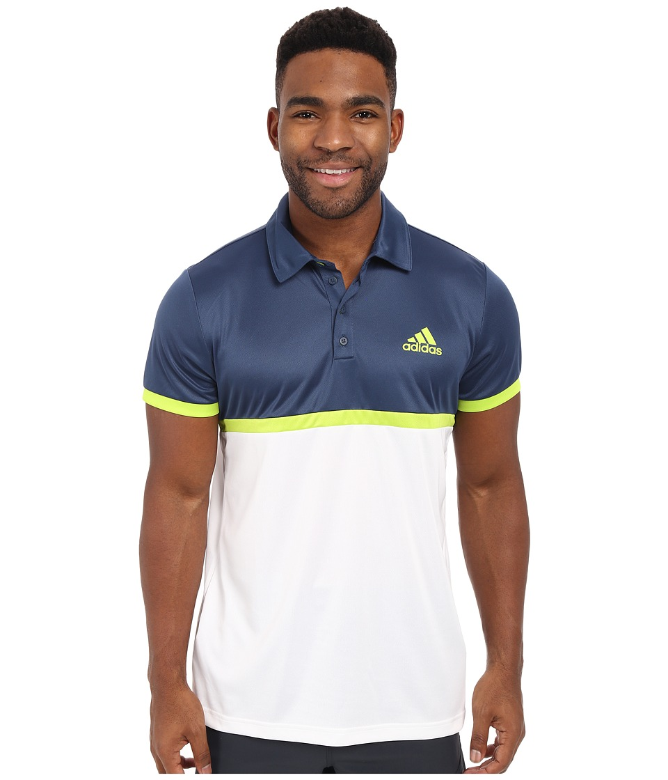 adidas - Court Polo (Mineral Blue/Semi Solar Slime/White) Men's Clothing