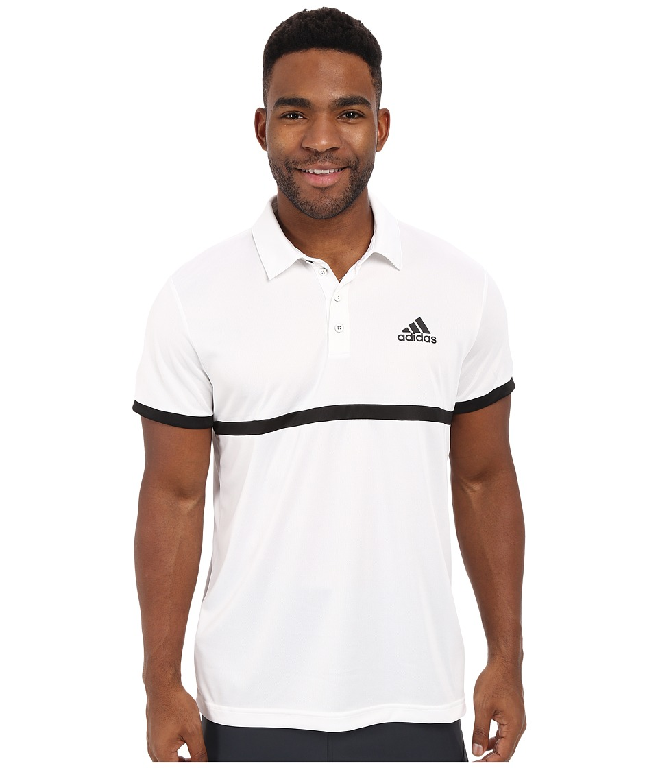 adidas - Court Polo (White/Black) Men's Clothing