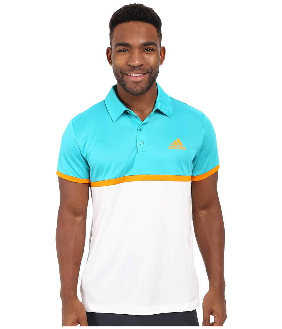 adidas - Court Polo (Shock Green/EQT Orange/White) Men's Clothing