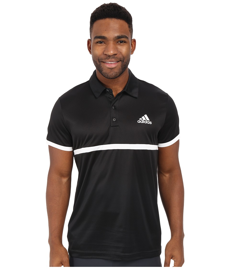 adidas - Court Polo (Black/White) Men's Clothing