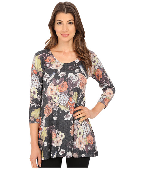 Nally & Millie - Grey Floral Ribbed Tunic (Multi) Women's Blouse