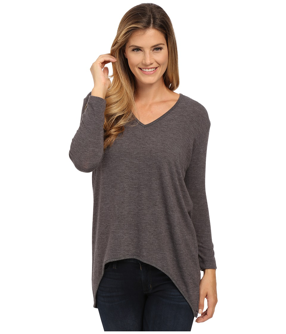 Nally & Millie - V-Neck High-Low Sweater Tunic (Charcoal) Women