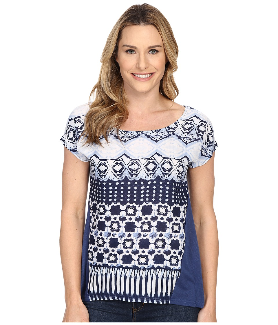 Roper - 0231 Aztec Print Dolman Sleeve Top (Blue) Women's Short Sleeve Pullover