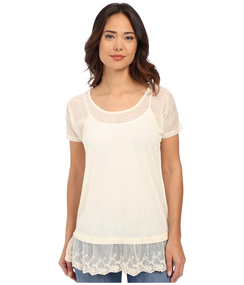 Roper - 0221 Sheer Poly Slub Jersey Tunic (White) Women's Blouse