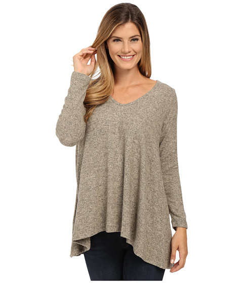 Nally & Millie - Rounded Vneck Tunic with Shirred Back (Taupe) Women's Sweater