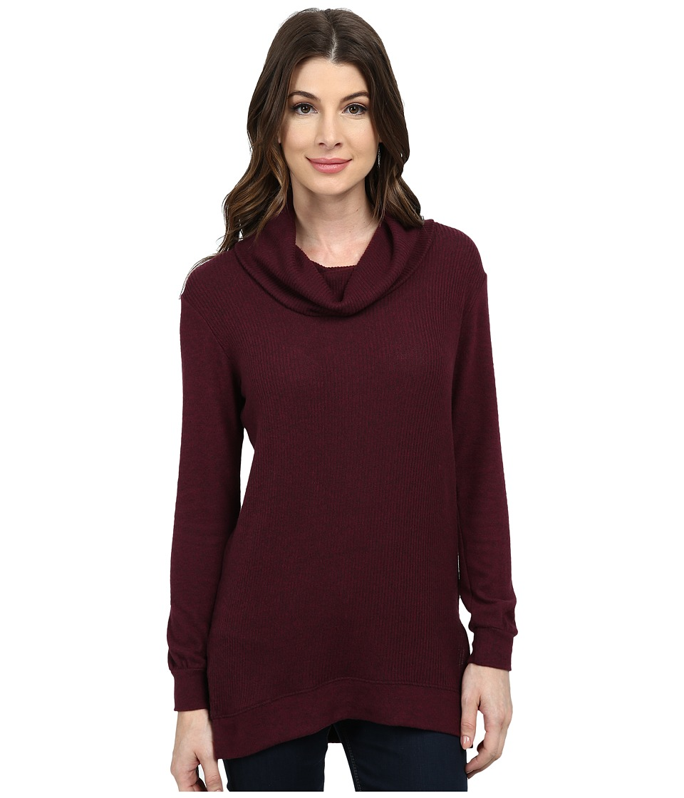 Nally & Millie - Long Sleeve Brush Ribbed Turtleneck Tunic (Plum) Women's Blouse