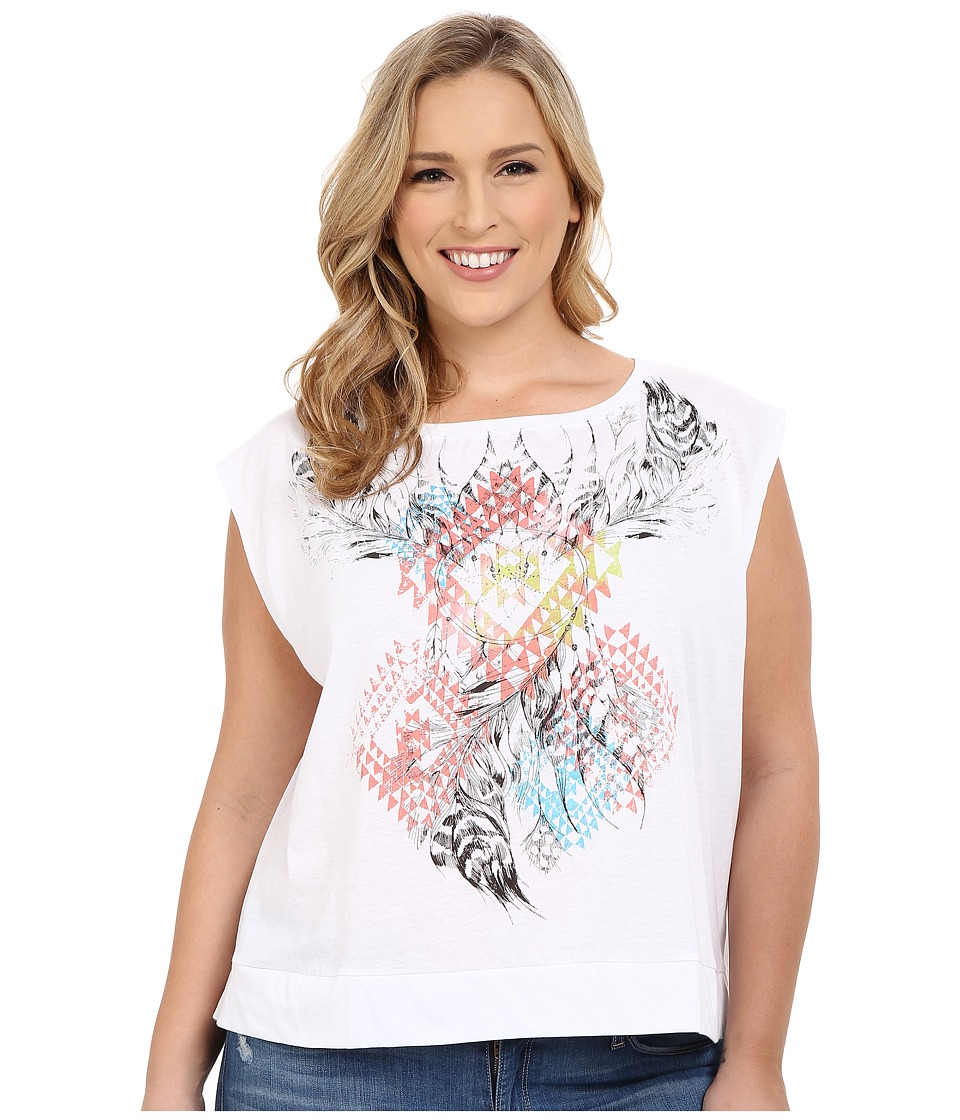 Roper - Plus Size 0229 Hi-Lo Boxy Tee (White) Women's Short Sleeve Pullover