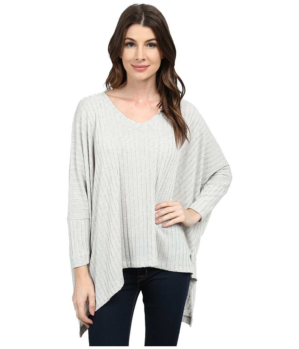 Nally & Millie - V-Neck Ribbed Poncho (Heather Grey) Women