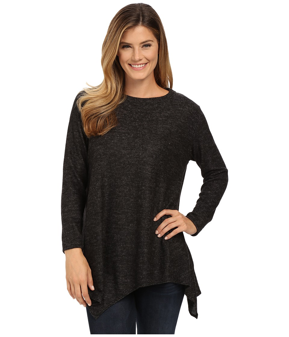 Nally & Millie - Asymmetric Hem Brushed Sweater Tunic (Black) Women's Sweater