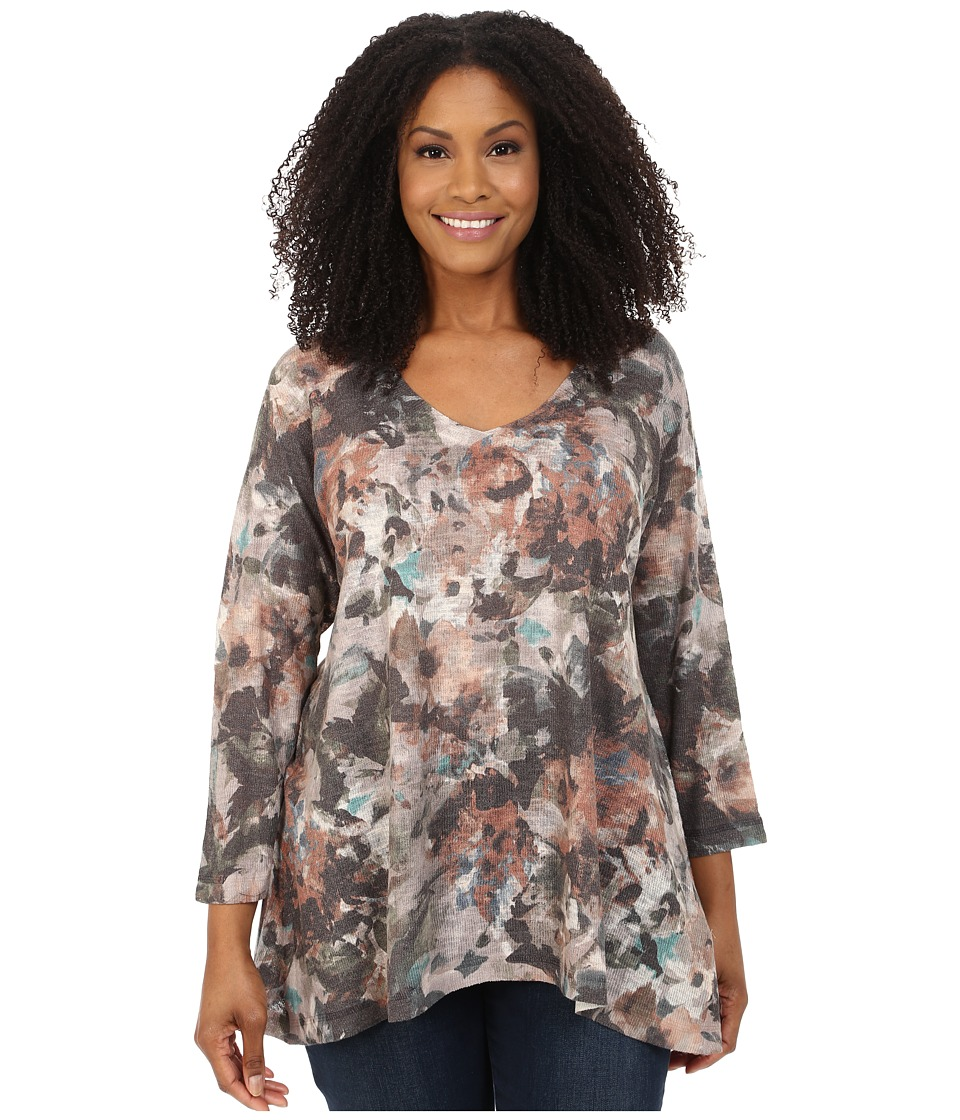 Nally & Millie - Plus Size V-Neck Brown Floral Tunic (Multi) Women's T Shirt