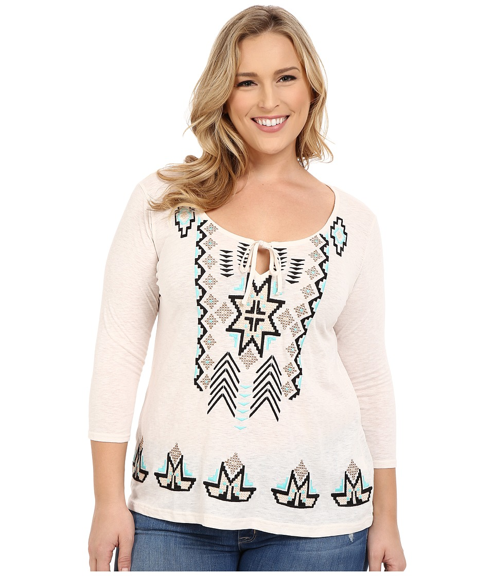 Roper - Plus Size 0228 Lightweight Slub Jersey Peasant Top (White) Women's Long Sleeve Pullover