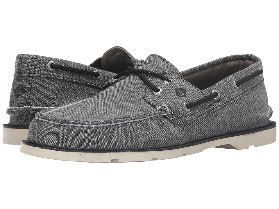 Sperry Top-Sider - Leeward 2-Eye Cross Lace Chambray (Black) Men's Shoes