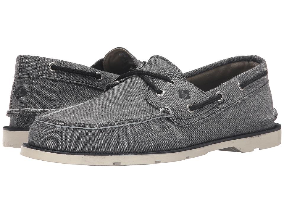 Sperry Top-Sider - Leeward 2-Eye Cross Lace Chambray (Black) Men's Shoes