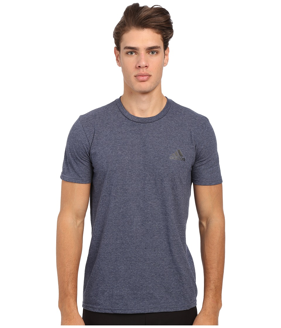 adidas - Go-To Performance Short Sleeve Crew Tee (Coll Navy Heathered/Solid) Men's Workout