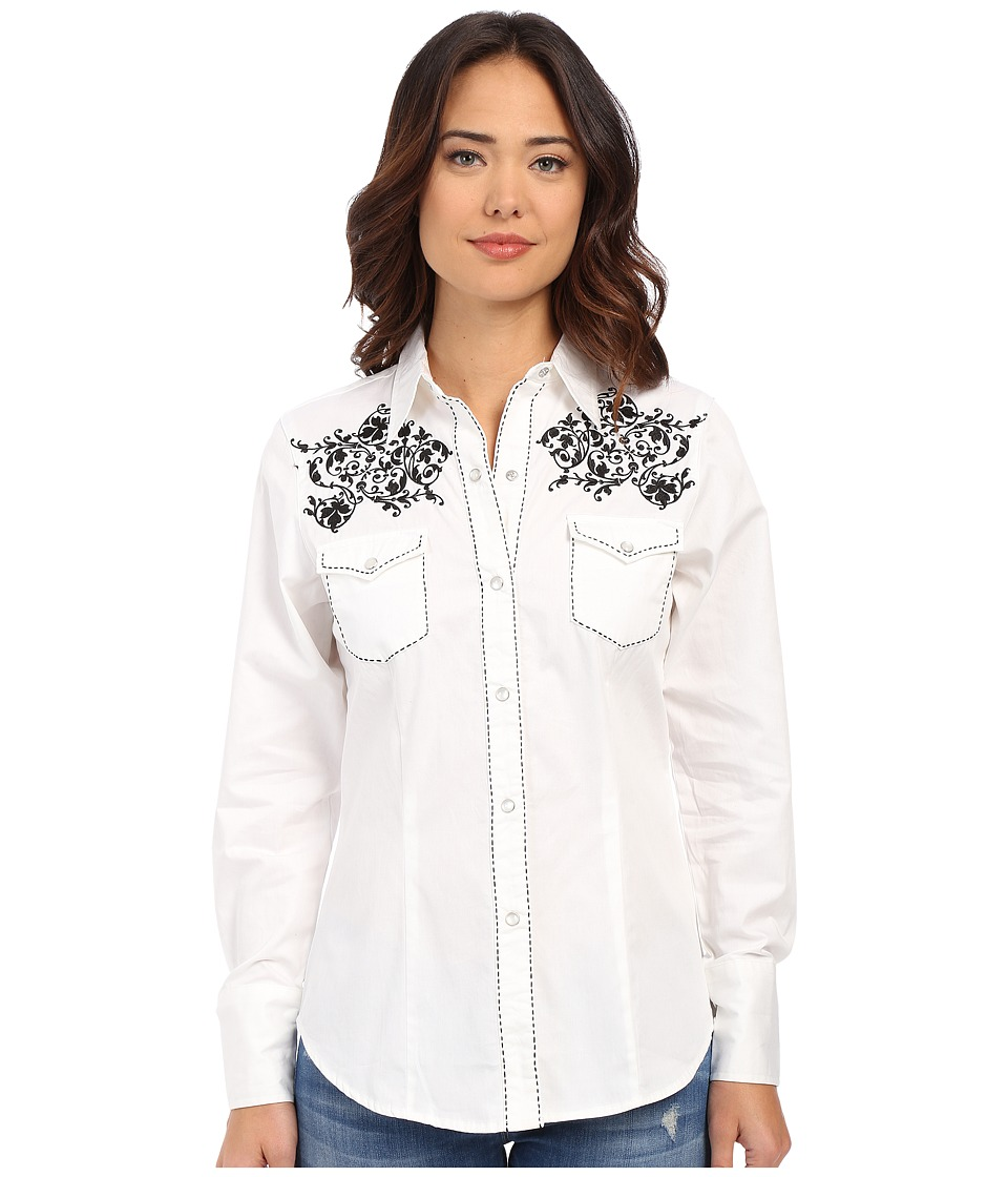 Roper - Creeping Vine (White) Women's Long Sleeve Button Up