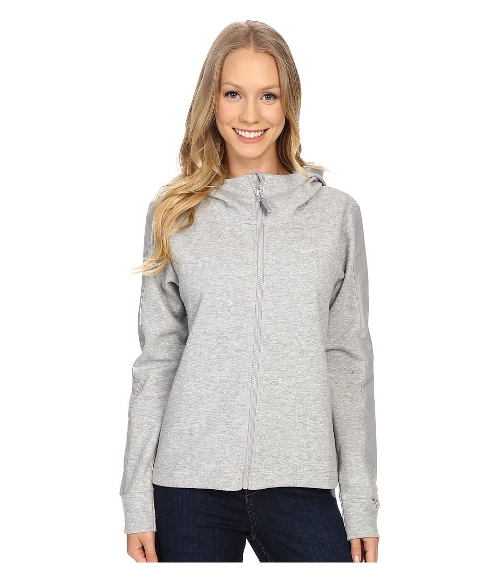 Nike - Advance 15 Fleece Cape (Dark Grey Heather/Matte Silver/Matte Silver/White) Women's Coat