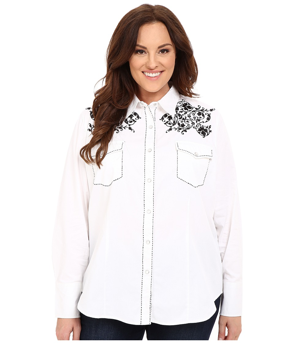 Roper - Plus Size Creeping Vine (White) Women's Long Sleeve Button Up