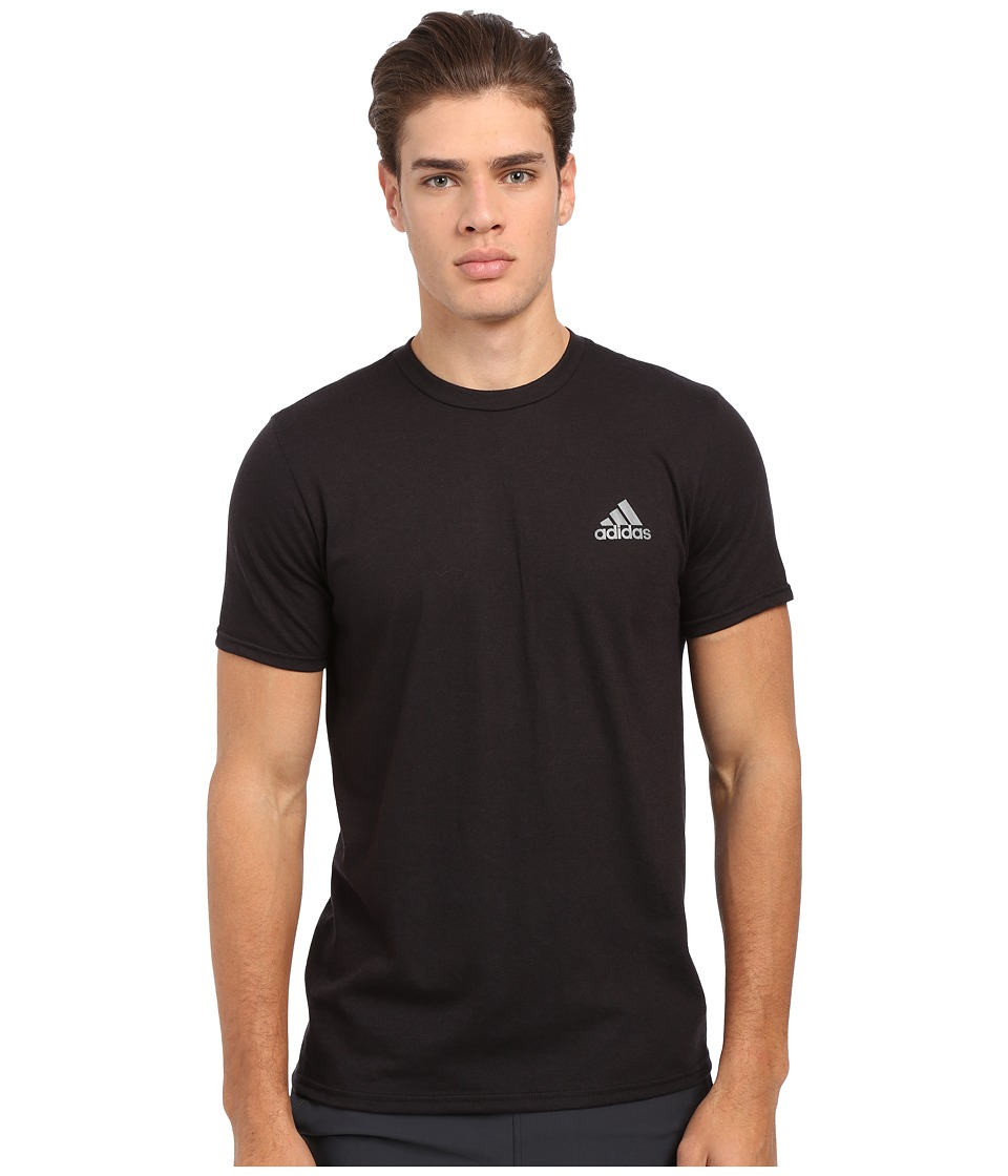 adidas - Go-To Performance Short Sleeve Crew Tee (Black/Vista Grey) Men's Workout