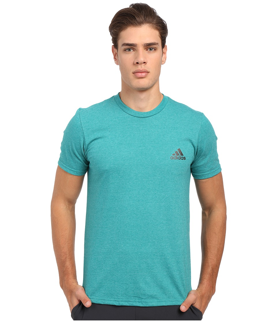 adidas - Go-To Performance Short Sleeve Crew Tee (EQT Green/Colored Heather/Black) Men's Workout