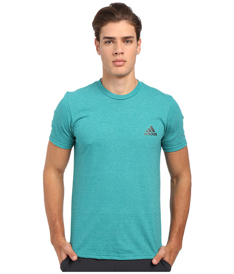 adidas - Go-To Performance Short Sleeve Crew Tee (EQT Green/Colored Heather/Black) Men