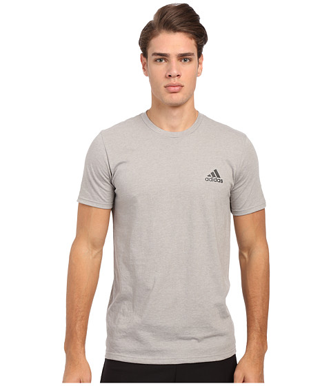 adidas - Go-To Performance Short Sleeve Crew Tee (Medium Grey Heather/Black) Men