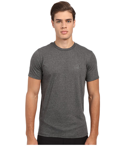 adidas - Go-To Performance Short Sleeve Crew Tee (Dark Grey Heather/Black) Men