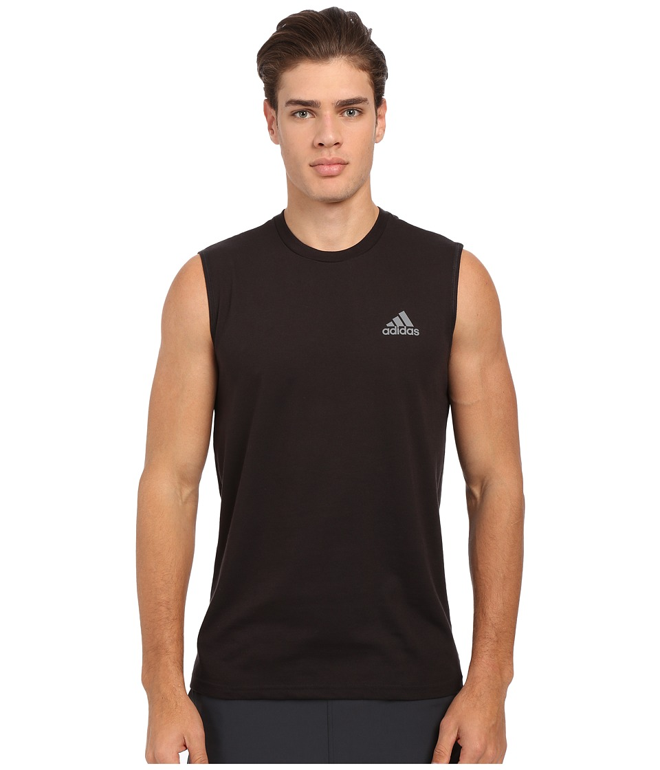 adidas - Go-To Performance Sleeveless Tee (Black/Vista Grey) Men