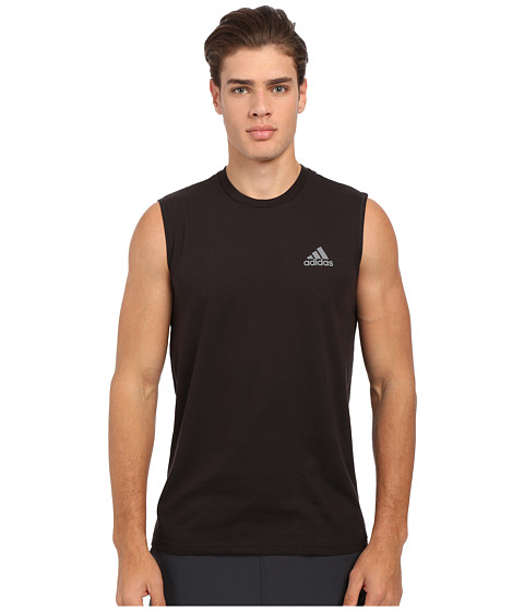 adidas - Go-To Performance Sleeveless Tee (Black/Vista Grey) Men's Sleeveless