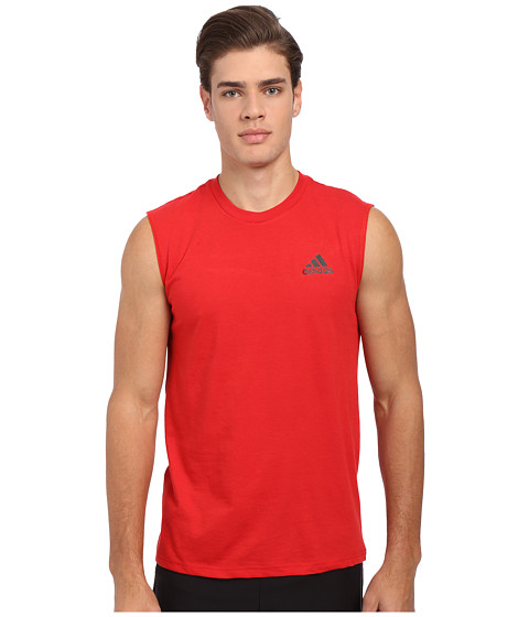 adidas - Go-To Performance Sleeveless Tee (Scarlet/Black) Men