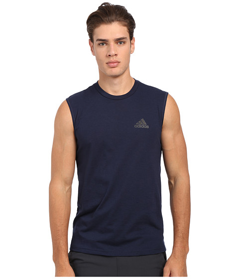 adidas - Go-To Performance Sleeveless Tee (Collegiate Navy/Black) Men's Sleeveless