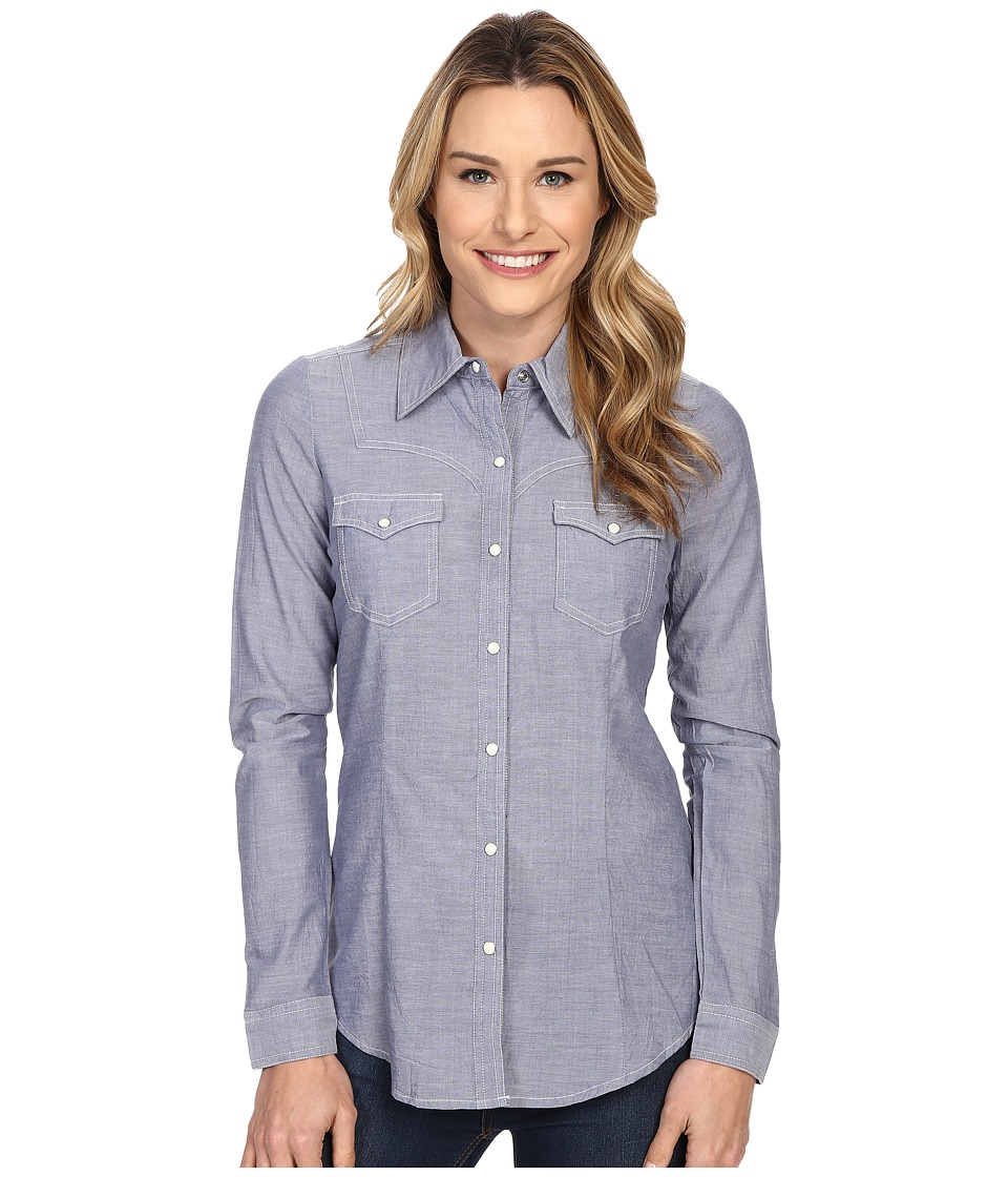 Roper - 0201 Chambray Shirt (Blue) Women's Long Sleeve Button Up