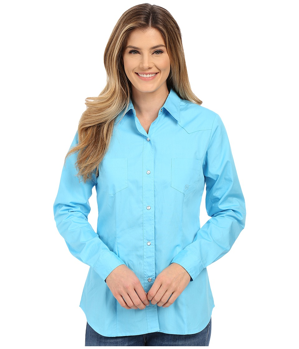 Roper - 0282 Solid Poplin (Blue) Women's Long Sleeve Button Up