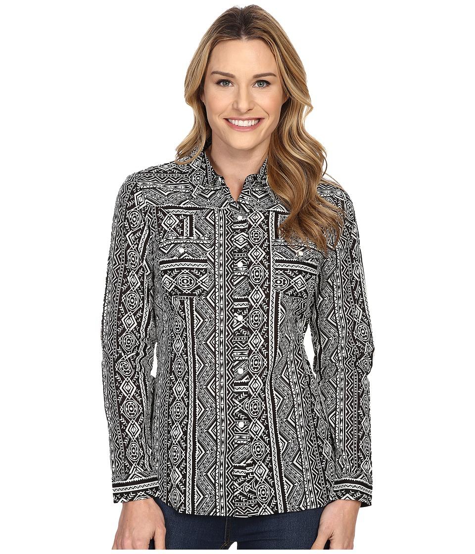 Roper - 0202 Aztec Printed Stripe Lawn Shirt (Black) Women's Long Sleeve Button Up