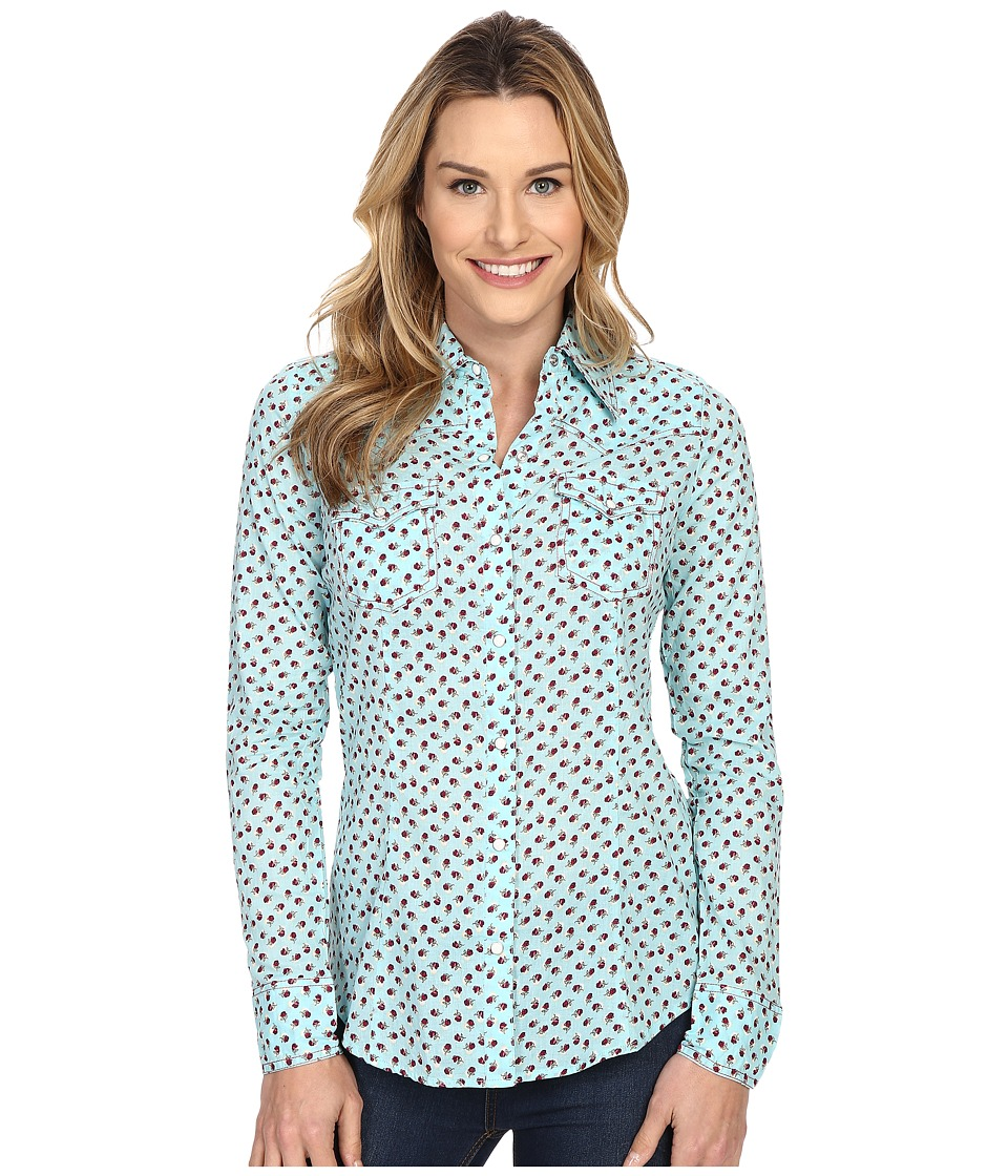 Roper - 0198 Floral Printed Lawn Shirt (Blue) Women's Long Sleeve Button Up